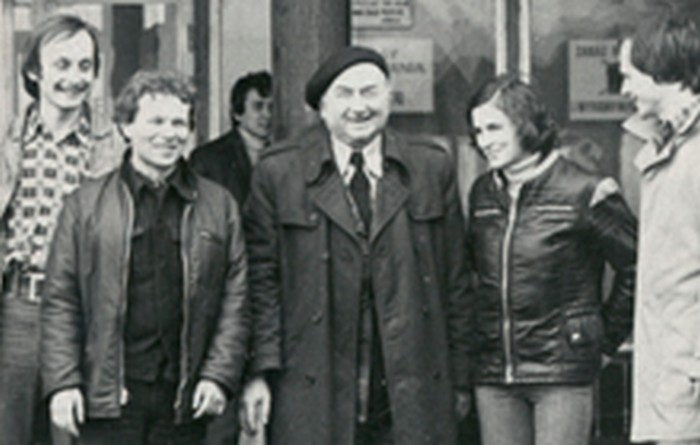 Józef Fiszer with his students in the 1970s.