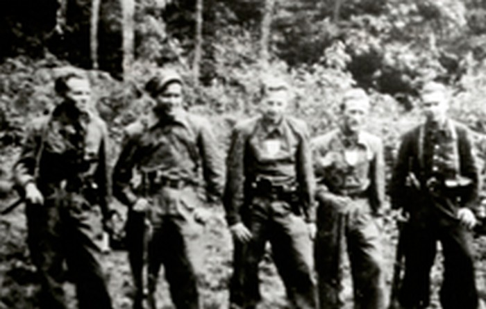 Partisan group Grom, AK. Józef Fiszer's brother Jan first on the left. 1944.