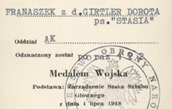 Medal Wojska certificate. London 1948.