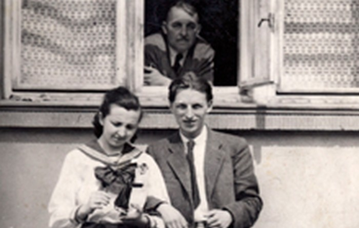 Stanisław Ptak with his sister Aleksandra and his father Stanisław.  Kraków 1946.