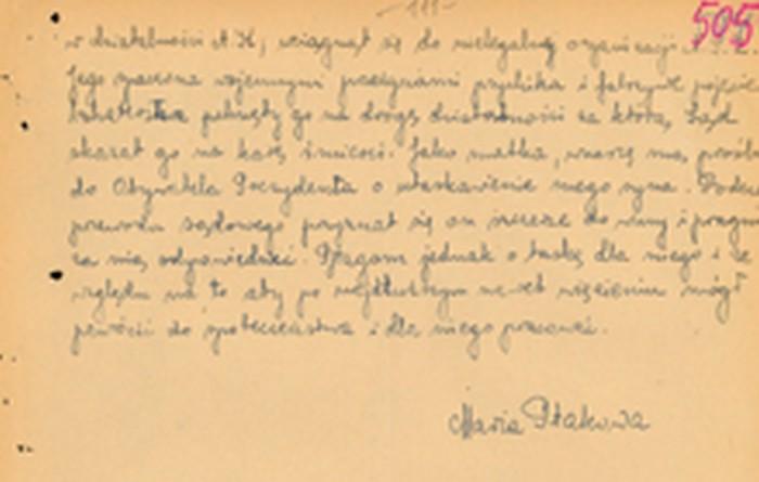 Pardon request written by Stanisław's mother, Maria. Kraków 1947. Property of IPN in Kraków.