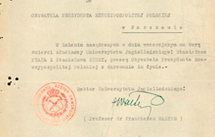 A pardon request written by the chancellor of the Jagiellonian University. Kraków 1947. Property of IPN in Kraków.