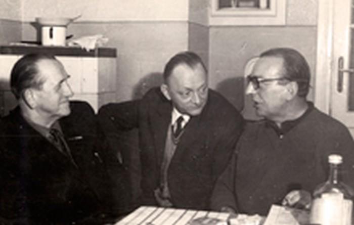 Stanisław Ptak with friends (pseudonyms Gacek and Śmiały (Władysław Fajkowski)) in the 1970s.