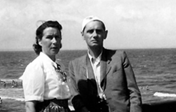 Józefa i Tadeusz Latawcowie, polscy rodzice Janiny, Międzyzdroje 1949 r., wł. prywatna