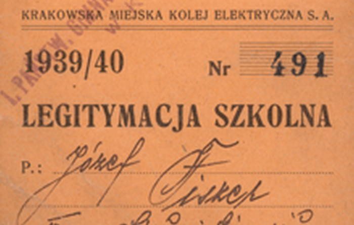 Józef Fiszer, legitymacja szkolna, Kraków 1939 r., wł. prywatna