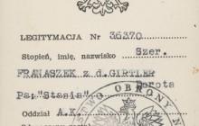 Legitymacja nadania Dorocie Franaszkowej z d. Girtler Srebrnego Krzyża Zasługi z Mieczami, Londyn, 1948 r., wł. prywatna