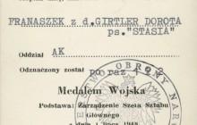 Legitymacja nadania Medalu Wojska, Londyn 1948 r., wł. prywatna