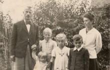 Józef Ostafin z rodziną, z czasów ukrywania się przed gestapo, Kalwaria Zebrzydowska 1943–1945 r., wł. prywatna