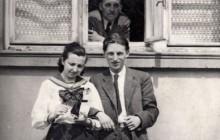 Stanisław Ptak z siostrą Aleksandrą i ojcem Stanisławem, Kraków 1946 r., wł. prywatna